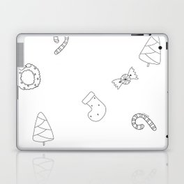 Winter Holiday Themed Illustration Merry Christmas! Black White Laptop & iPad Skin