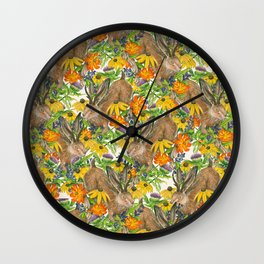 Jackalope Wildflower Florals Wall Clock