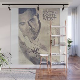 North by Northwest, Alfred Hitchcock, vintage movie poster, Cary Grant, minimalist Wall Mural