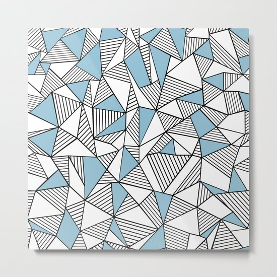 Abstraction Lines Sky Blue Metal Print
