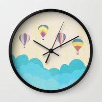 hot air balloons Wall Clocks featuring hot air balloons by studiomarshallarts