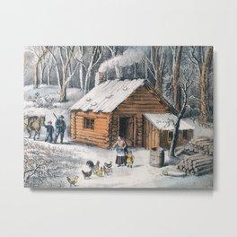 Vintage Home in The Wilderness Painting (1870) Metal Print