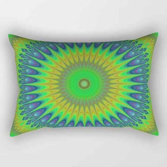 Green star mandala Rectangular Pillow