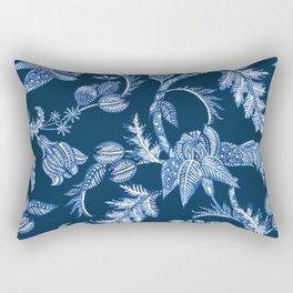 ROYAL BLUE BATIK FLORAL Rectangular Pillow