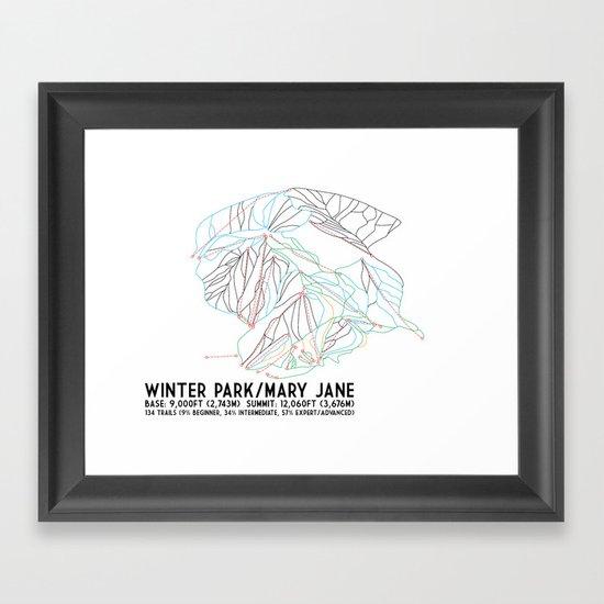 Winter Park/Mary Jane, CO - Minimalist Trail Art by circlesquarediamond