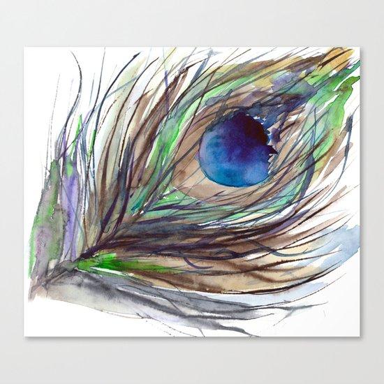 Peacock piece || watercolor Canvas Print