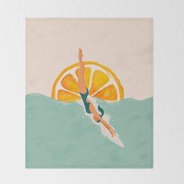 Girl Dive Throw Blanket