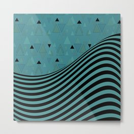 Dark turquoise , combined patchwork Metal Print
