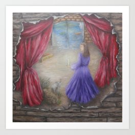 Between Pages and Curtain Art Print