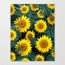 Tropical Sunflower Jungle Night Leaves Pattern #1 #tropical #decor #art #society6 Canvas Print