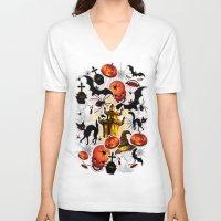 saga V-neck T-shirts featuring Halloween Spooky Cartoon Saga by BluedarkArt