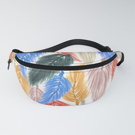 Watercolor Macrame Feather Toss in Earthy Rainbow Fanny Pack