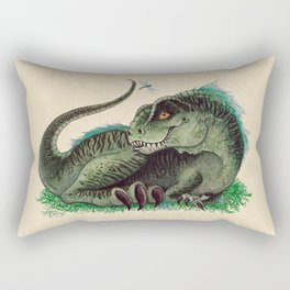 """Pinfeathers"" by Amber Marine ~ T-Rex Dinosaur Watercolor illustration, (Copyright 2016) Rectangular Pillow"