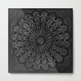 Dark Geometric mandala pattern Metal Print