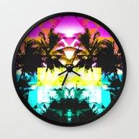hawaiian Wall Clocks featuring Hawaiian Quilt by The Digital Weaver