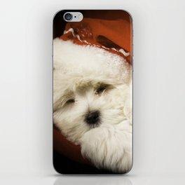 Sleepy Santa Puppy iPhone Skin