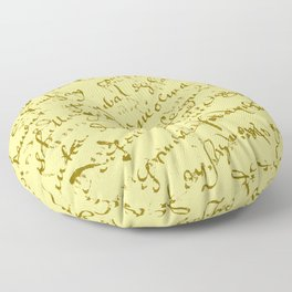 French Script on Yellow Floor Pillow