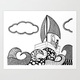 Sailing Away-Black and White Art Print