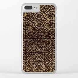 Celtic Wood Pattern with Gold Accents Clear iPhone Case