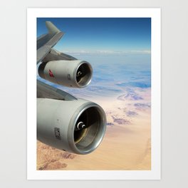 Qantas Boeing 747-400 wing view over the desert Art Print