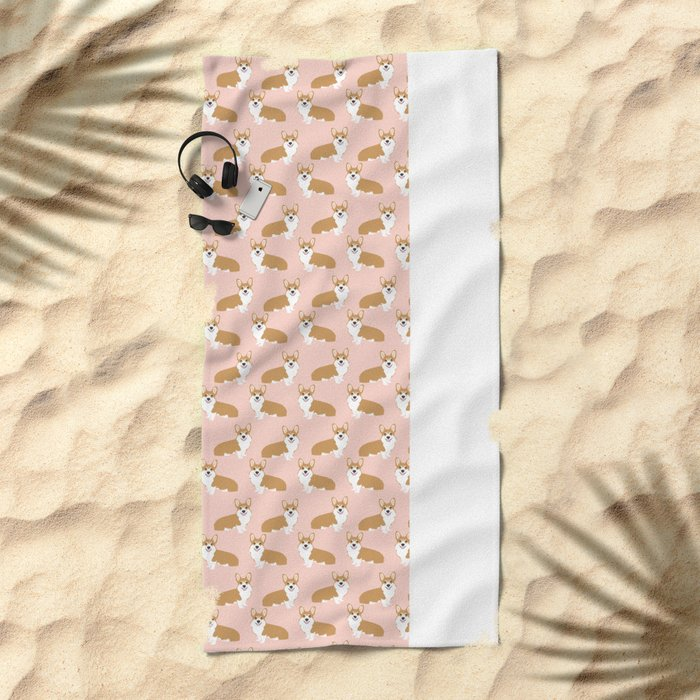 Corgi pastel blush pink cute welsh corgi dog portrait pattern corgi lovers must have dog gifts  Beach Towel