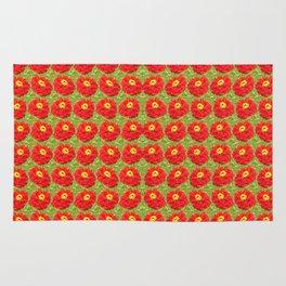 red flowers - pattern Rug