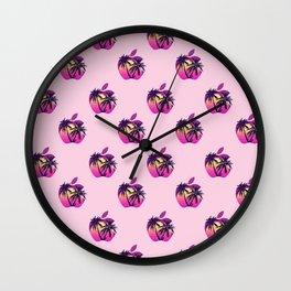 Apple retrowave logo pattern Wall Clock