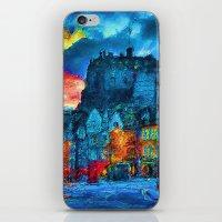 edinburgh iPhone & iPod Skins featuring Edinburgh Evening by E.M. Shafer