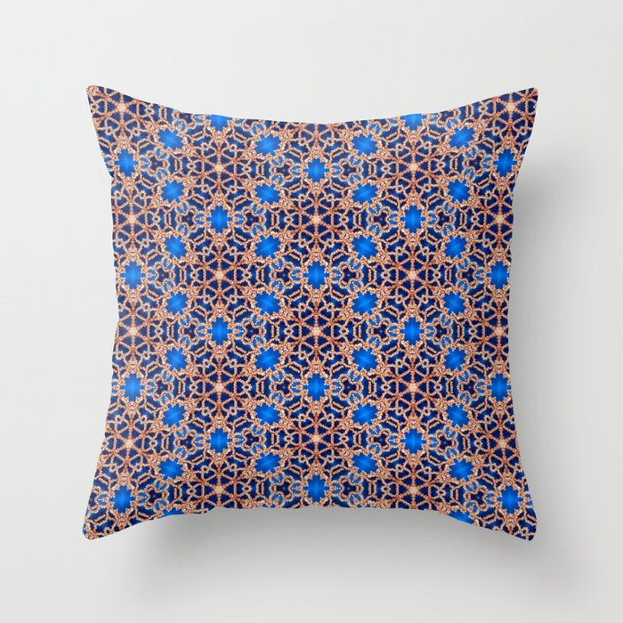 Blue and Gold Beadwork Inspired Print Throw Pillow