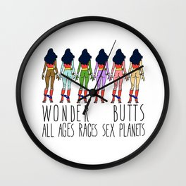 Wonder Butts - Feminism, all Ages Sex Races Planets Wall Clock