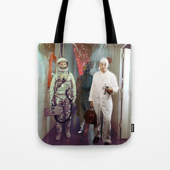 Space Check Collage Tote Bag