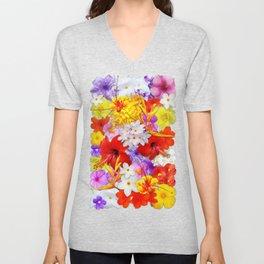 Exotic Flowers Colorful Explosion Unisex V-Neck