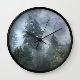 Smoky Redwood Forest Foggy Woods - Nature Photography Wall Clock