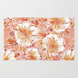 KOMBUCHA-CHA Orange Tropical Hibiscus Floral Rug