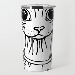 Big Eyed Pretty Wrinkly Kitty - Sphynx Cat Illustration - Nekkie - Cat Lover Gift Travel Mug