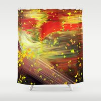 camus Shower Curtains featuring Fall In Love by Geni