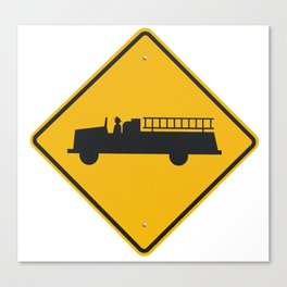 Yellow Firetruck Firehouse Traffic Sign Canvas Print