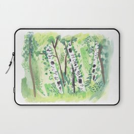 Birch Trees Watercolor Painting Laptop Sleeve
