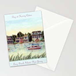 Bay at Harvey Cedars, Long Beach Island, New Jersey, Jersey Shore, fishing boats, Stationery Cards