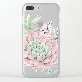 Perfect Pink Succulent Clear iPhone Case