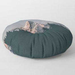 First Light on Mount Hood Floor Pillow