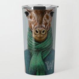 the giraffe in jacket. Travel Mug