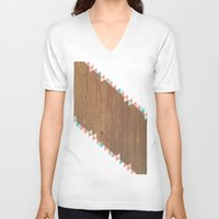 wooden V-neck T-shirts featuring WooDEn ART by ''CVogiatzi.