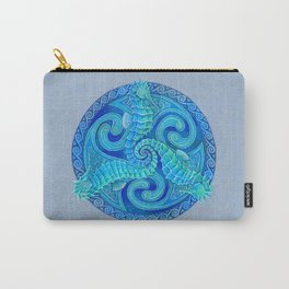 Seahorse Triskele Celtic Blue Spirals Mandala Carry-All Pouch