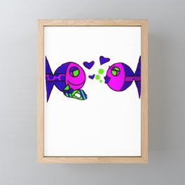 Fish in love Framed Mini Art Print
