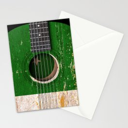 Old Vintage Acoustic Guitar with Pakistani Flag Stationery Cards