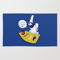 cooking Area & Throw Rugs featuring cooking with monsieur sloth by Louis Roskosch