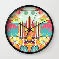 tiki Wall Clocks featuring Tiki by Claire Lordon