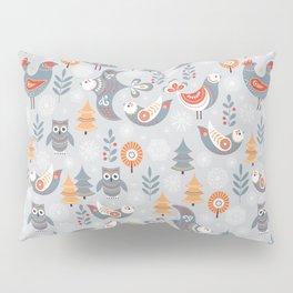 Winter seamless pattern with birds, trees, snowflakes. The Scandinavian style. Folk art. Pillow Sham