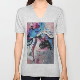 Blue and Pink Abstract Painting Unisex V-Neck